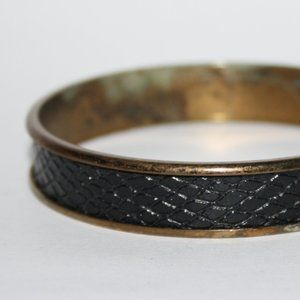 Vintage black and bronze bangle bracelet